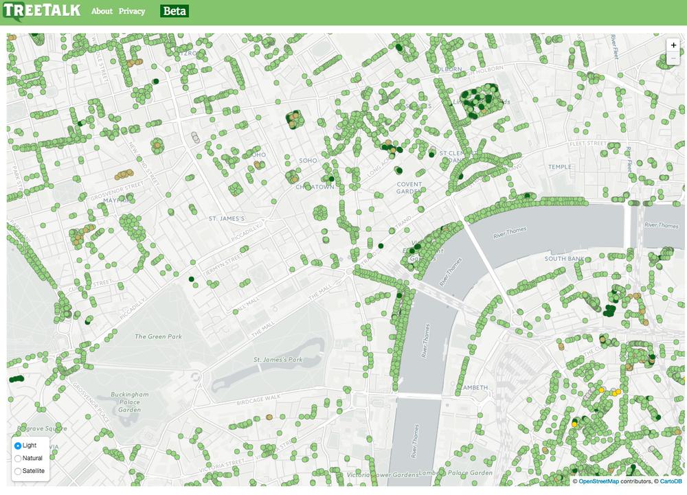Screenshot of the TreeTalk map